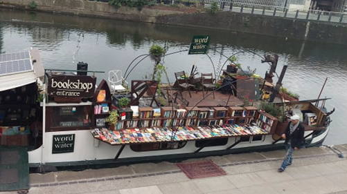 A book store on a river boat in London, England