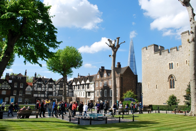 Buildings inside the walls of the Tower of London in London, England